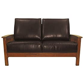 Mission Style Leather Sofa Seating Living Room Furniture