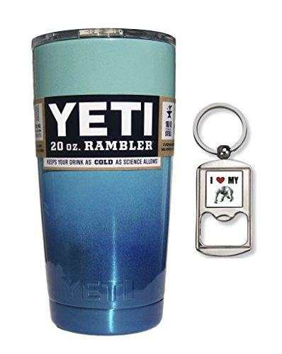 Yeti Coolers Custom Stainless Steel 20 oz Rambler Tumbler Cup Mug with Lid (Seafoam Ocean Ombre Fade)