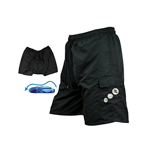 Santic Men Padded Coolmax Loose Fit Cycling  Casual Short Black Size XXL