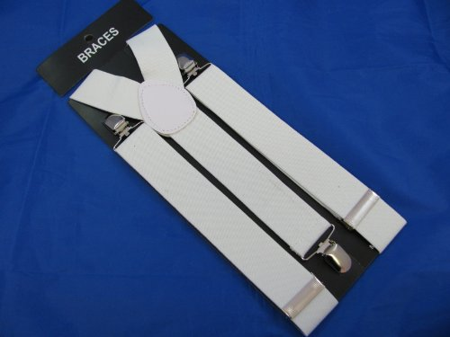 Pair of white fashion braces (suspenders) 3.5cm wide, adjustable with metal adjusters and snap fasteners.