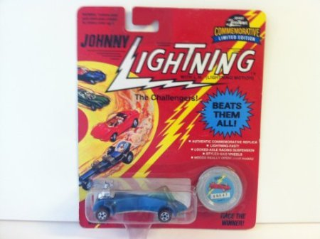 Johnny Lightning, The Challengers, Wasp, 1993, 1:64, Blue, w/ collector button #00547. - 1
