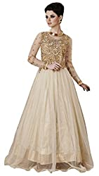 Jiya Presents Soft Net Multi Embroidered & Embellished Semi-Stitched Gown(Cream)