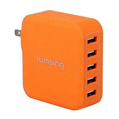 Lumsing USB急速充電器 40W 5ポート ACチャージャー 折りたたみ式  各種 スマホ / タブレット / wi-fiルーター 等対応 持ち運び安い オレンジ