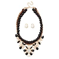 Glam Crystal Epoxy Stone Chunky Bead Mixed Media Necklace Earrings Set by Heirloom Finds