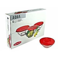 Pasabahce Aqua Bowl with Lid Set, Set of 6