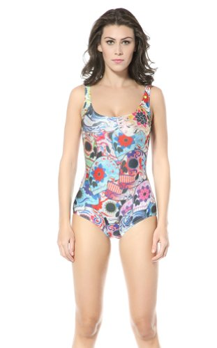 Ndb Multicolor Skull-Faced Print One Piece Swimsuit Swimwear Beach Cloth