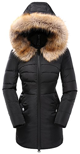 Valuker Women's Down Coat with Hood 90% Down Parka Fur Winter Jacket-Black-L
