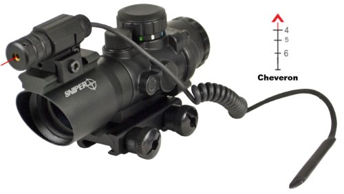 Sniper Tactical Prism Scope With Single Rail And Red Laser Less Than 5Mv On Top And Chevron Reticle