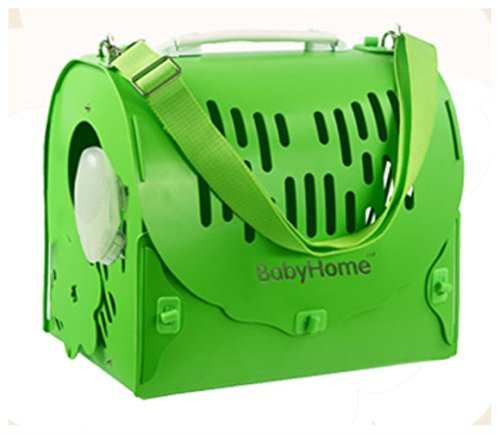Pet Dog Cat Hard Sided Travel Carrier Plastic for Outdoor Carrier Bag 019(Green L)