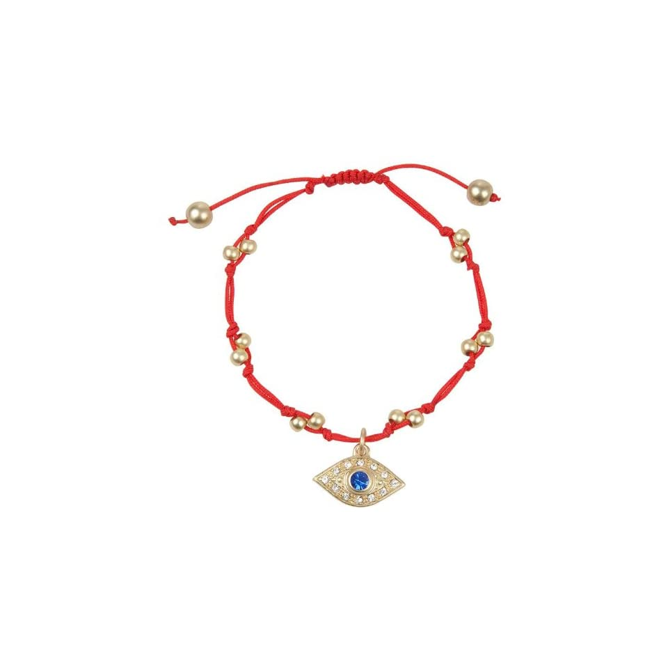 Trendy Matte Gold Tone Crystal Evil Eye Charm on Red String Bracelet