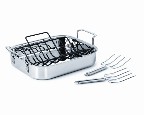 Calphalon Tri-Ply Stainless Steel 14-Inch Roaster with Rack and Lifters (Calphalon Roaster Pan compare prices)