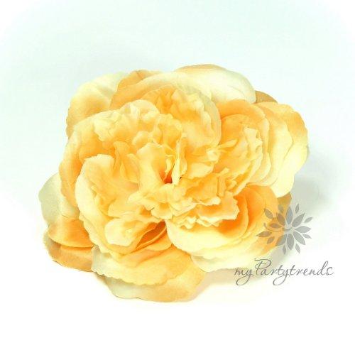 Elegante Haarrose in pastellgelb-hellorange (Ø 12 cm; Höhe 4,5 cm) von myPartytrends. (Ansteckrose, Haarblume mit Schnabelspange, Haarschmuck)