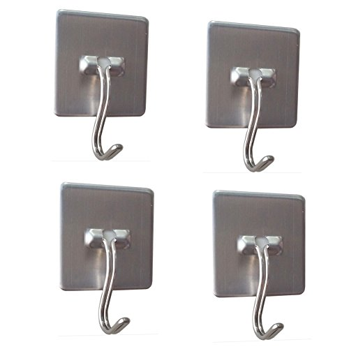Daixers Stainless Steel Strong Adhesive Hooks With Rotatable Hook Tip,4-Hook(Max Load 4.4 pounds) (Dry Erase Board Mounting Bracket compare prices)