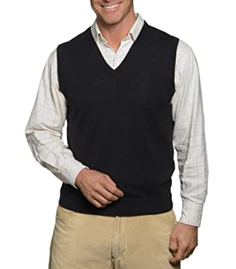 Wool Overs Pull sans manches homme en cachemire et coton Anthracite XS
