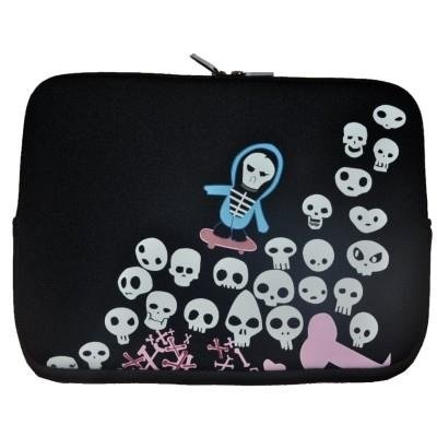 "Xirrix Premium Mini Notebooktasche Universal Sleeve bis 10,2"" Design: Skulls schwarz"