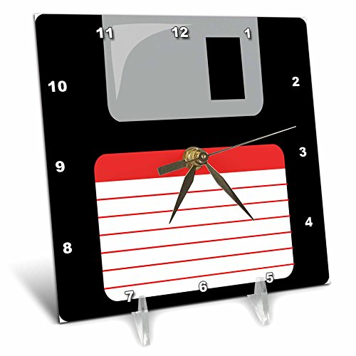 InspirationzStore Floppy Disks - Retro 90s computer black floppy disk graphic design with red label - 1990s - ninties computer tech - 6x6 Desk Clock (dc_57457_1)