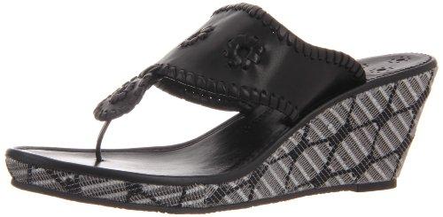Jack Rogers Women's Montecarlo Thong Sandal,Black Stripe,7 M US