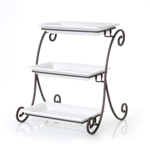 clay art 3 tier serving tray white ebay. Black Bedroom Furniture Sets. Home Design Ideas