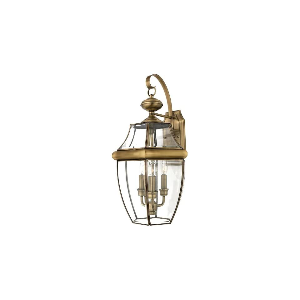Newbury 3 light Outdoor Wall Lantern, LARGE/3 LIGHT, ANTIQUE BRASS