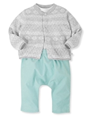 3 Piece Pure Cotton Cardigan, Bodysuit & Corduroy Trousers Outfit