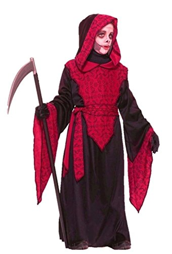 Black Horror Hooded Robe Costume Children Boys Girls Red Vampires S M L XL
