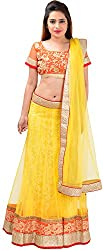 Panchi Women's Yellow Net Lehenga (P-Jashan-5091)