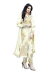 Krishna Emporia Women's White Salwar Suit Dupatta Dress Material
