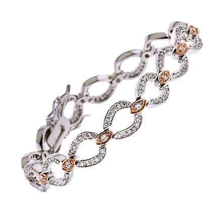 Rose Gold Silver C.Z. Oval Marquise Bracelet (Nice Holiday Gift, Special Black Firday Sale)