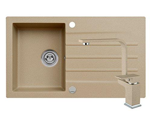 SET-Einbau-Granitsple-MOJITO-100-45er-U-Schrank-Kchensple-86-x-50-cm-Armatur-Amanda-Hochdruck-AXIS-BEIGE