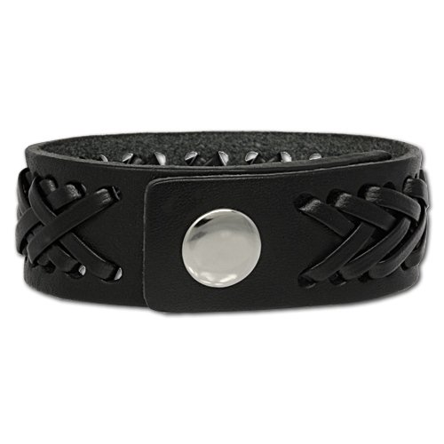 SilberDream Leather Bracelet black with Leather applications - fits up to 8.3'' - for Man or Woman, Leather Bracelets genuine Leather LA5350S