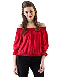 Iande Red Rayon Off Shoulder Top