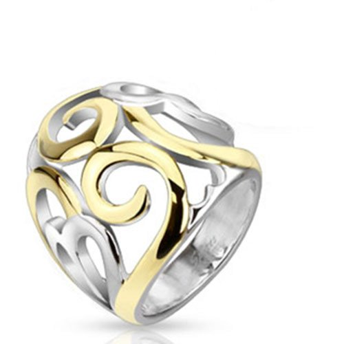 Stainless Steel Two Tone IP Smoke Swirl Hearts Frontal 23mm Ring R513 (Two Tone Heart Ring compare prices)