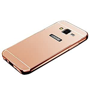 Novo Style Metal Bmper Frame Case with Acrylic Mirror Back Cover For Samsung Galaxy J1 Ace - Pink