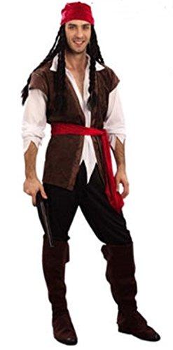カリブ 海賊 コスプレ衣装 パイレーツ オブ カリビアン ハロウィン  フェイスペイント 付 (メンズ)