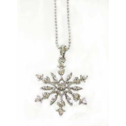 Gorgeous Austrian Crystal Accented White Gold Plated Snowflake Pendant & Necklace