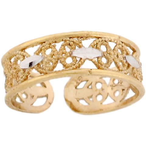 Two-Toned 10k Real Gold Fancy Designer Ladies Toe Ring