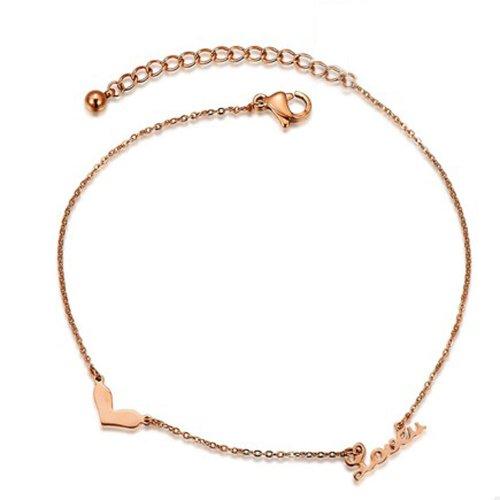 PlusMinus Women's 316L Stainless Steel Rose Gold Love U Letter Charm Gift Anklets