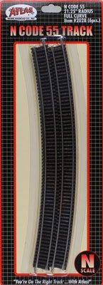 "N Code 55 Nickel Silver 21.25"" Radius Full Curve Track (6) Atlas Trains"
