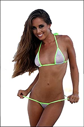 7e2127989b0 Sexy Medium Micro GString Bikini 2pc Thong w Neon Green US Made Sheer