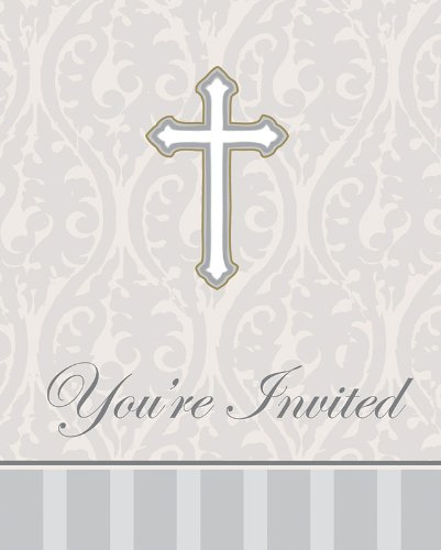 Creative Converting Devotion Cross You're Invited Christening Celebration Invitations, Silver, 8 Count