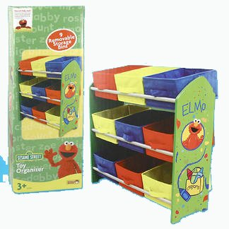 Elmo toy storage shelf with colorful graphics from the Sesame Street theme