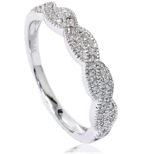 Vintage Diamond Infinity Ring 14K White Gold