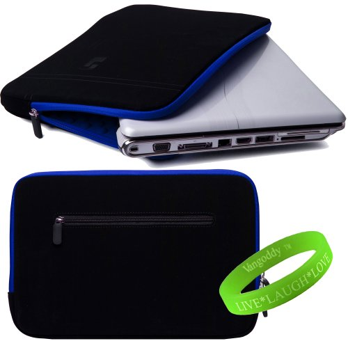 13 Inch Notebook SumacLife Accessories Onyx with Galvanizing Blue Trim Drumm Neoprene Sleeve Carrying Anyhow for Sony Vaio S Series 13 Inch Notebooks + VanGoddy White-hot+LAUGH+LOVE Wristband