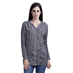 MansiCollections Solid Womens Causal Shirt (Small)