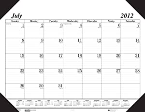 School Smart July 2012 to August 2013 Academic Desk Pad Calendar - 22 x 17 inches - Black