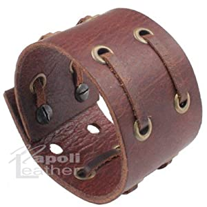 Distressed Vintage ITALIAN Leather Bracelet Unisex 7BR