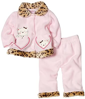 Young Hearts Baby-girls Newborn Cat Heart Fleece Cardigan And Pant Set, Shy Pink, 6/9 Months