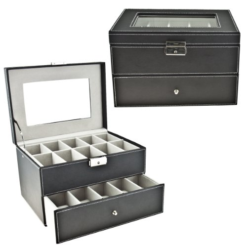 Black Classic Watch Case Display Box with Clear Top Holds 20 Watches