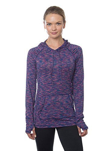 RBX Active Women's Long-Sleeve Space Dye Peached Jersey Hoodie, Small, Twilight Magenta Combo