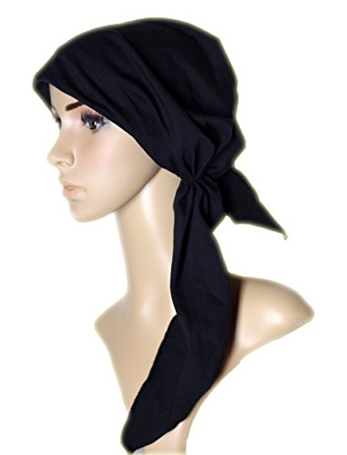 Pre Tied Head Scarf Fitted Head Covering Tichel Hair Snood Bandana Black Cotton (Pre Tied Tichel compare prices)